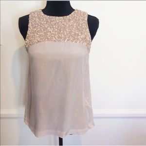 French Connection sequin beaded silk top size 0